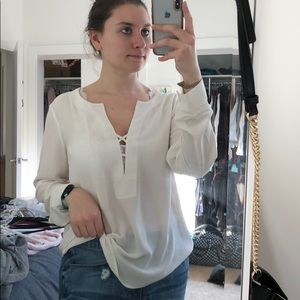 Express white blouse with criss cross detail